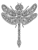 Dragonfly Insect Zentangle Coloring Page