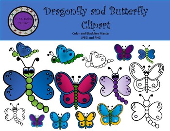 Dragonfly and Butterfly Clipart