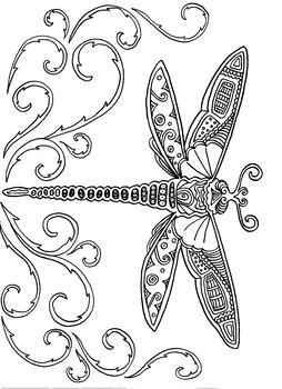 Dragonfly coloring sheet