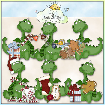 Dragons Christmas Clip Art - CU Colored Clip Art