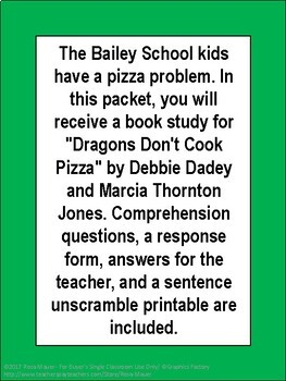 Dragons Don't Cook Pizza Novel Study Bailey School Kids