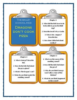 Bailey School Kids DRAGON'S DON'T COOK PIZZA - Discussion Cards