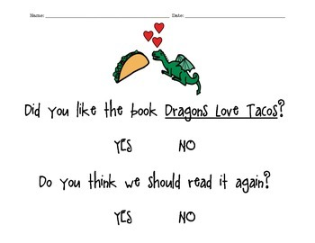 Dragons Love Tacos! (Main Idea Worksheet &Voting Worksheet)