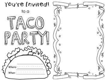 taco coloring pages Dragons Love Tacos  Party Invitation Coloring Page by Jaclyn Daily taco coloring pages
