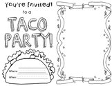 Dragons Love Tacos- Party Invitation Coloring Page