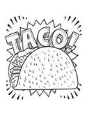 Dragons Love Tacos- Taco Coloring Page