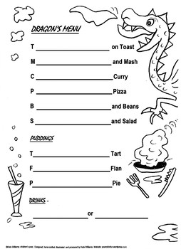 Dragon's Menu - fun + literacy rolled together