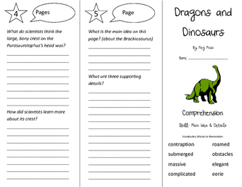 Dragons and Dinosaurs Trifold - Storytown 4th Grade Unit 6 Week 1