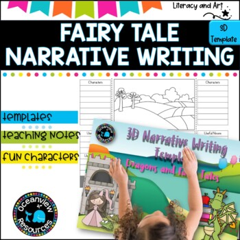 Narrative Writing -Dragons and Fairy Tales 3D template lapbook