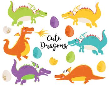 Dragons clipart, vector dragons clipart, fire clipart, lizard clipart, monsters
