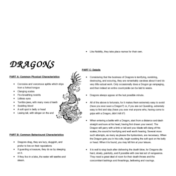 Dragons - reading comprehension