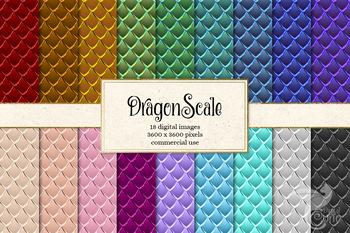 Dragonscale Digital Paper, dragon scales, mermaid, snake skin patterns