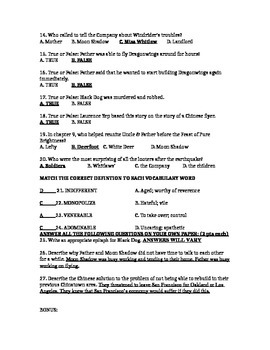 Dragonwings CH 9-12 Test (w/ Ans Key)