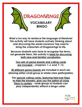 Dragonwings Vocabulary Bingo
