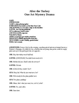 Thanksgiving Drama - After the Turkey - Readers Theater Crime Script