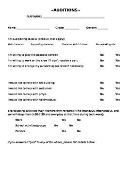 Drama Audition Form