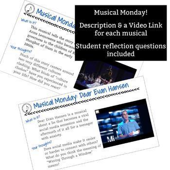 Drama Bell Ringer: Musical Monday - 1 Full Semester of Monday Bell Ringers