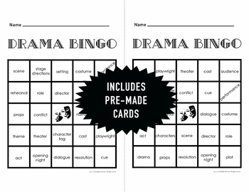 Drama Vocabulary Bingo