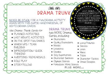 Drama Cards : THEATRE / THEATER STYLES (Drama Games + Activities)