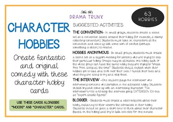 Drama Cards and Suggested Drama Activities : HOBBIES