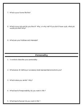 Drama Character Analysis Packet