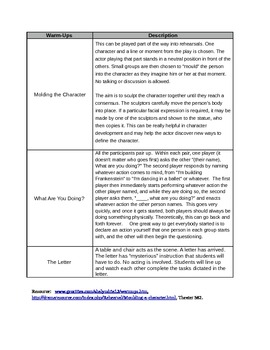 Drama Cheat Sheet—Activities/Games/Exercises