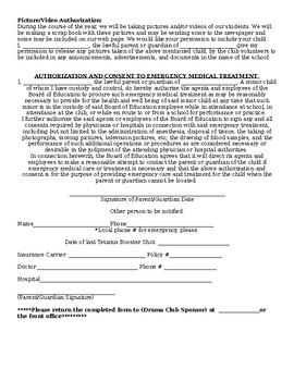 Drama Club After School Permission Form