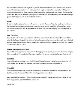 Drama Club Play/Musical Parent Welcome/Introduction Letter