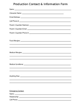 Drama Club Production Contact & Information Form