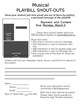 Drama Club School Play/Musical Playbill Shout Outs Form