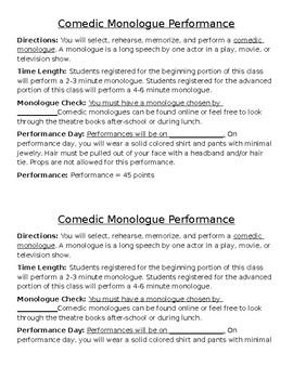 Drama Comedic Monologue Performance Project