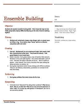 Drama: Cooperation, Ensemble Building