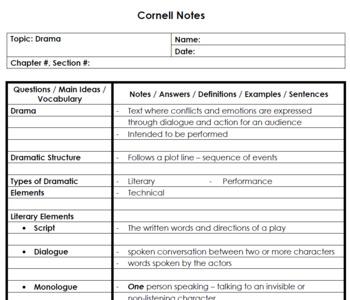 Drama - Cornell Notes
