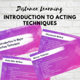 Drama Distance Learning: Introduction to Major Acting Techniques (Editable!)