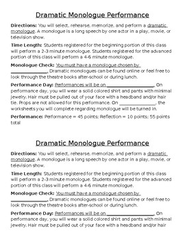 Drama Dramatic Monologue Performance Project