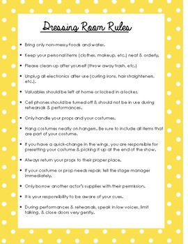 Drama Dressing Room Rules Printable