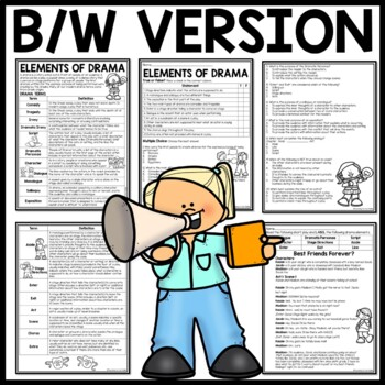 Drama Elements Activity Worksheet Terms, Comprehension, Application