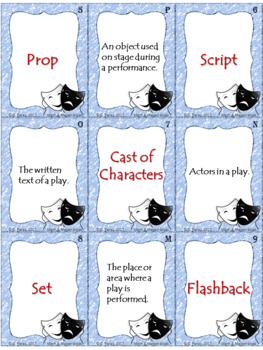 Drama Elements Vocabulary (Lonely Mask is a Matching Card Game)