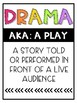 Elements of Drama - Vocabulary Posters and Assessment