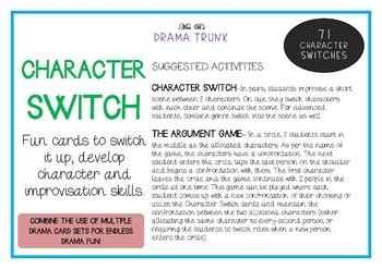 Drama / English Cards : CHARACTER SWITCHES (Drama Games + Activities)