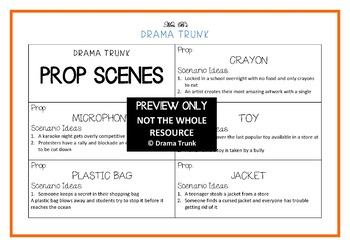 Role Play PROP SCENES : Drama / English Cards + Suggested Drama Activities