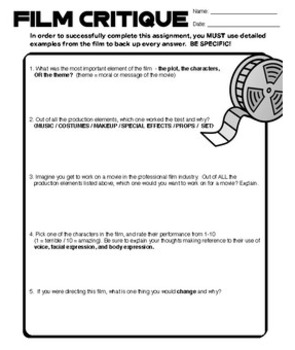 Drama - Film Critique - Movie Worksheet (generic!)
