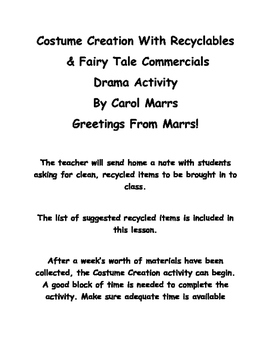Drama Game-Costume Creation With Recyclables-With Fairy Tale Commercial