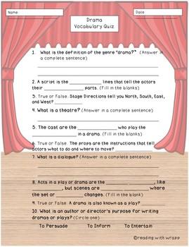 Drama Genre Study Vocabulary Quiz and Key