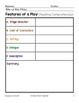 Drama Graphic Organizers for Guided Reading