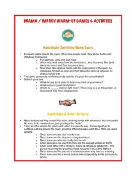Drama / Improv / Acting Warm-Up Games & Activities