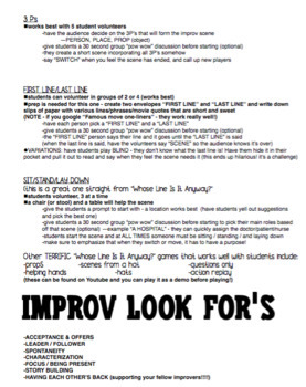 Drama Improv Games and activities -  for high school
