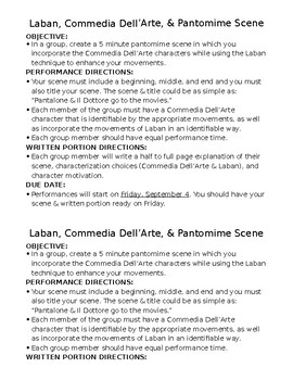 Drama Laban, Pantomime, and Commedia Dell'Arte Performance Project