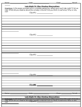 Drama Late Night Comedy TV Bits Observation Worksheet