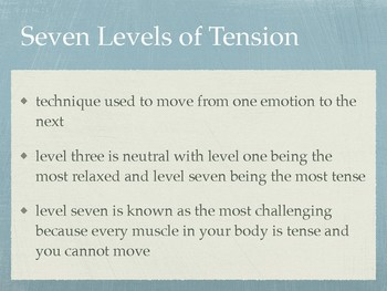 Drama Lecoq's Seven Levels of Tension Concept Powerpoint